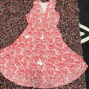 Pretty red & white eshaki cotton dress, size L